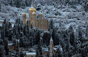 Snow in Jerusalem: Snow covers the Russian church in the neighbourhood of Ein Kerem