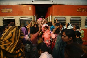 Trains for women: Women try to enter the ladies' compartment of a crowded train