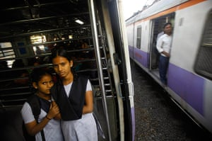 Trains for women: Schoolgirls travel in the women's compartment