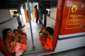 Trains for women: Women sit near the doors as they travel in the women's compartment