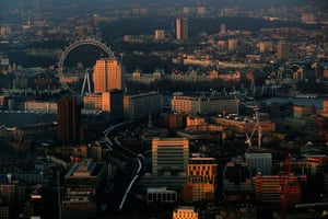 Shard view: The early morning sun hits buildings and the London Eye
