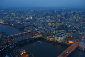 Shard view: St Paul's cathedral and the financial district at dusk