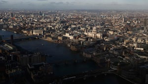 Shard view: St Paul's cathedral and the Thames