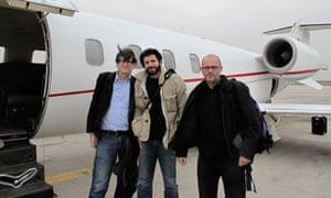 Alan Rusbridger, Ghaith Abdul-Ahad and Peter Beaumont after Ghaith is released in Libya