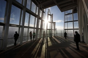 Shard view: Visitors look out from the Shard viewing platform