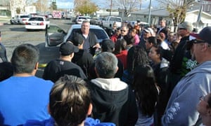 Taft police chief Ed Whiting speaks to concerned parents