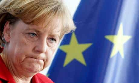 German chancellor Angela Merkel by an EU flag