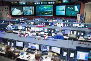 A Month in Space: Flight controllers in the space station flight control room