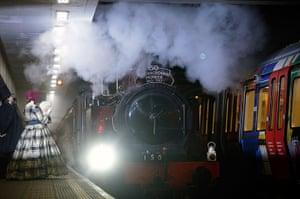 Met locomotive: The restored steam engine arrives at Moorgate station