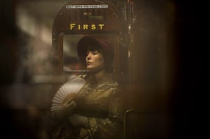 Met locomotive: Actresses in period costume pose by the first class carriages