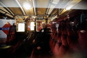 Met locomotive: Howard Carey sits in a first class carriage