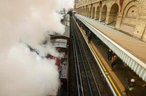 Met locomotive: A steam train is pulled through Barbican Underground Station in London