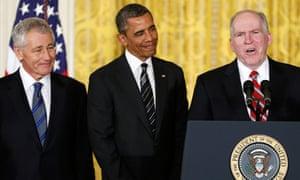 Barack Obama, John Brennan, Chuck Hagel