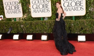Actress Debra Messing arrives at the 70th annual Golden Globe awards in Beverly Hills, California.