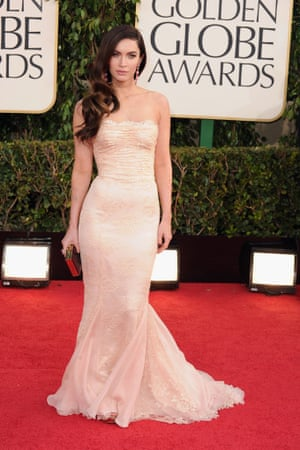 Actress Megan Fox on the red carpet, arriving for the Golden Globe awards at the Beverly Hilton Hotel.