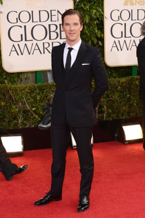 Star of Sherlock, Benedict Cumberbatch arrives at the Golden Globe Awards held at the Beverly Hilton Hotel.