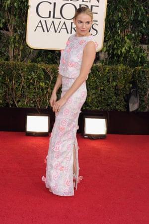 Sienna Miller arrives for the Golden Globes in Los Angeles.