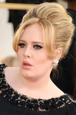 Singer Adele arrives at the 70th annual Golden Globe Awards held at the Beverly Hilton Hotel.