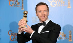 Damian Lewis, winner of the Golden Globe for best actor in a television drama series for Homeland, poses in the press room.