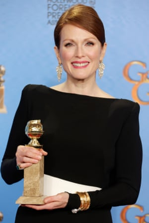 Julianne Moore with her Golden Globe in the press room. Golden Globes.