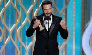 Ben Affleck receives the Golden Globe for best director for Argo. Golden Globes