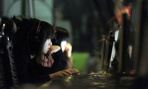 Chinese woman at computer