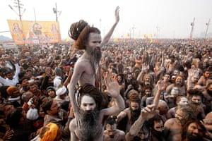 Kumbh Mela: Naked Hindu holy men or Naga Sadhus return to their camp