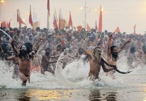 Kumbh Mela: Sadhus or holy man run into the Sangham