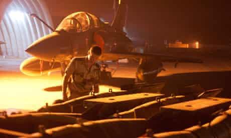 French military preparing a Mirage 2000D Fighter plane in N'Djamena