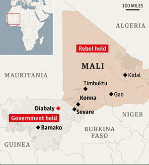Map: Mali, locating Diabaly