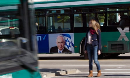 An advert for Binjamin Netanyahu's Likud-Beiteinu coalition in Tel Aviv on 14 January 2013.