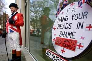 FA 150 years old: 25 Ray Egan, dressed as a John Bull mascot, protests