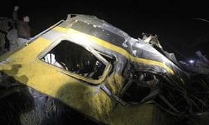 Part of a shattered train carriage after a crash that killed Egyptian army recruits