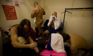 Wrestlers in a changing room