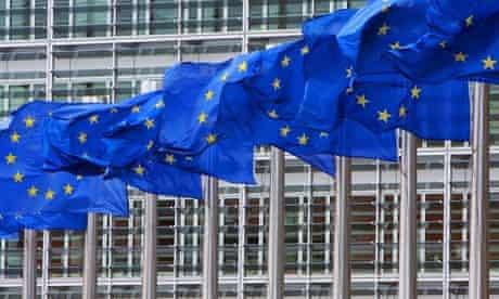 EU flags outside European Commission HQ
