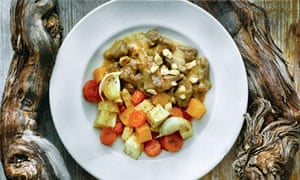 Braised beef, roasted root vegetables and hazelnuts