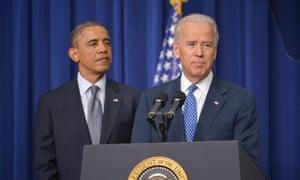 US vice president Joe Biden speaks as President Barack Obama listens on proposals to reduce gun violence.