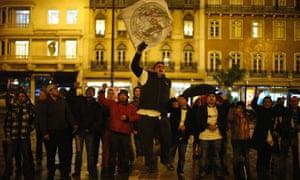 Demonstrators in Lisbon yesterday.