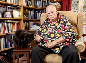 Sir Patrick Moore at his home in Selsey, Sussex
