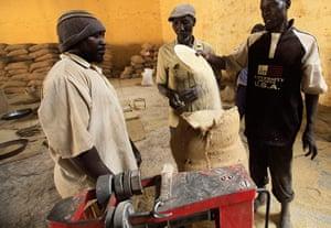 Sudan gum arabic: Workers prepare gum arabic for export at a firm in El-Obeid town