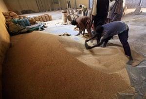 Sudan gum arabic: Workers prepare gum arabic for export at a firm in El-Obeid
