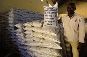 Sudan gum arabic: A worker stands next to sacks of gum arabic for export at firm in El-Obeid
