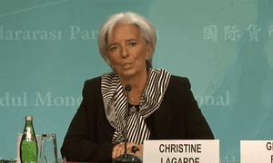 Christine Lagarde at a Washington press conference