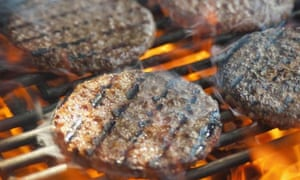 burgers cooking