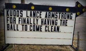 Road sign showing support for Lance Armstrong