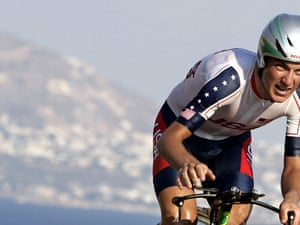 Tyler Hamilton rides uphill during the men's individual time trial competition at the 2004 Olympic Games, 18 August 2004 in Vouliagmeni, 40 km away from Athens. Hamilton won the event. AFP PHOTO DDP JOHANNES EISELE