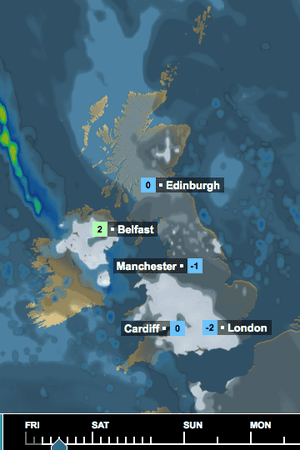 BBC weather map for Friday noon