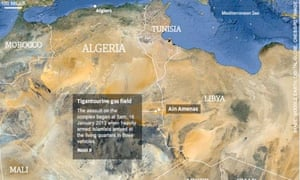 Map showing site of Algerian gas complex Photograph: guardian.co.uk