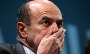 Centre-left candidate for prime minister Pier Luigi Bersani in Rome on Thursday. Photograph: Franco Origlia/Getty Images