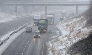 Traffic on a snowy M42 motorway in Derbyshire.